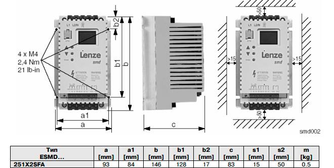 Размеры частотного преобразователя Lenze ESMD