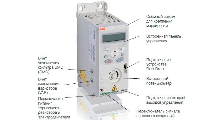 Схема элементов интерфейса часстотных преобразователей ABB ACS 150
