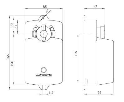Размеры электропривода Lufberg