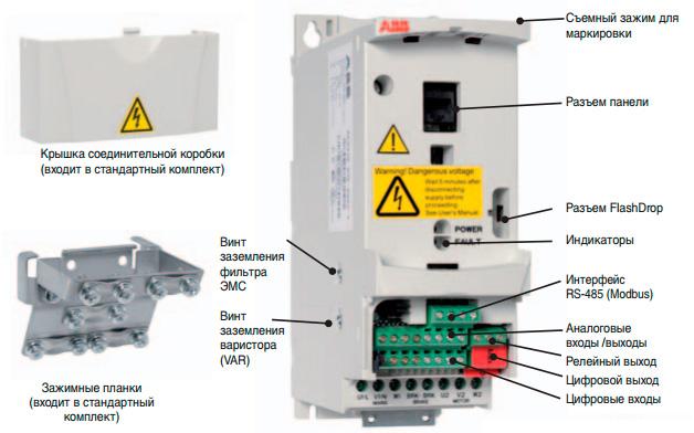 Схема разъемов частотного преобразователя ABB ACS 310
